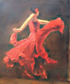 Original Flamenco Dancer Oil Painting On Linen Canvas, Size 20x24inches
