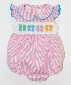 Look at this #zulilyfind! Pink Flip Flop Smocked Bubble Romper - Infant #zulilyfinds