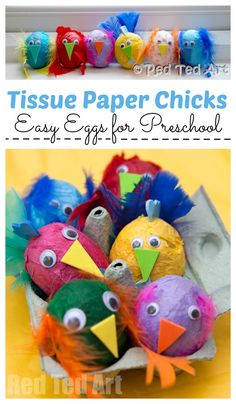 Red Ted Art& Collection of Tissue Paper Chicks in Egg Carton. Easy Egg Decorating for Preschool Red Ted Arts Collection of Tissue Paper Chicks in Egg Carton. Easy Egg Decorating for Preschool Easter Arts And Crafts, Easter Crafts For Toddlers, Animal Crafts For Kids, Easter Activities, Easter Crafts For Kids, Toddler Crafts, Preschool Crafts, Easter Ideas, Easter Eggs Kids
