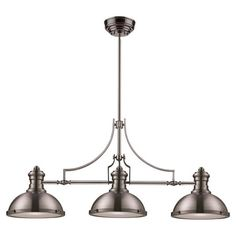 HOME DECOR – LIGHTING – PENDANT – Three-bulb pendant light in satin nickel with frosted glass diffuser shades.