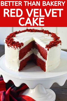 The BEST Red Velvet Cake Recipe with Sweet Cream Cheese Frosting. Tips and tricks for making perfect red velvet cake. How to make homemade red velvet cake. Cheap Dessert Recipes, Homemade Cake Recipes, Cupcake Recipes, Easy Desserts, Delicious Desserts, Yummy Food, Perfect Red Velvet Cake Recipe, Homemade Red Velvet Cake, Aquafaba