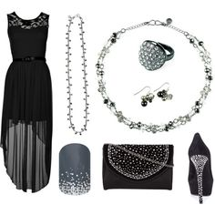 Elegant black dress with black rhinestone shoes and bag and Mialisia Gemini as a bracelet, Mialisia Polaris necklace, Mialisia Aurora earrings, Mialisia Orion ring http://carolyn.mialisia.com and Jamberry MIDNIGHT CELEBRATION Nails http://woodburn.jamberrynails.net