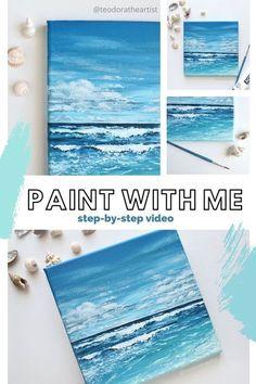 Beach Canvas Paintings, Simple Acrylic Paintings, Diy Canvas Art, Seascape Paintings, Easy Paintings, Acrylic Painting Canvas, Acrylic Art, Pour Painting, Canvas Painting Tutorials