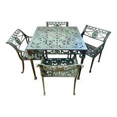 Outdoor Dining Set, Patio Dining, Patio Table, Patio Chairs, Wrought Iron Garden Furniture, Garden Furniture Sets, Garden Table And Chairs, Aluminum Patio, Glass Dining Table
