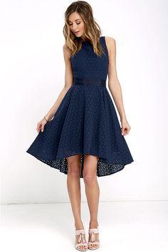 BB Dakota Lilyana Dress - Navy Blue Embroidered Dress - High-Low Dress - $103.00
