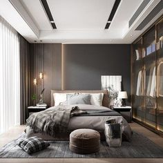 Modern Bedroom Ideas - 21 modern bedroom ideas you'll like. Swap a bedside lamp for hanging pendant lights. Go dark and also significant with dark colours. Attempt a relatively easy Modern Master Bedroom, Modern Bedroom Design, Master Bedroom Design, Minimalist Bedroom, Contemporary Bedroom, Bed Design, Home Decor Bedroom, Bedroom Ideas, Narrow Bedroom