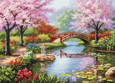 "Here is another amazing cross stitch kit from Dimensions. I love all of their Japanese designs. Entitled ""Japanese Garden,"" this cross stitch features cherry trees in bloom, a red painted bridge, water lilies and pagoda lantern. I think it's very serene and beautiful."