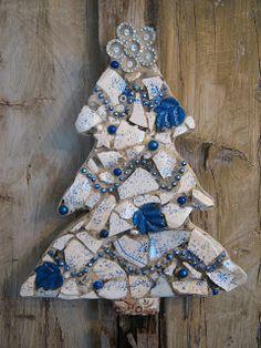 Mosaic blue and white Christmas tree.