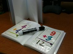 Flash cards in a photo album with Expo marker