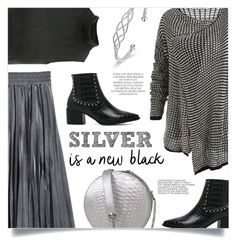 """Silver Is A New Black"" by mahafromkailash ❤ liked on Polyvore featuring Magdalena and Hedi Slimane"