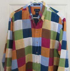 Paul Frederick Colorful Patch Work Linen Shirt Size M EUC