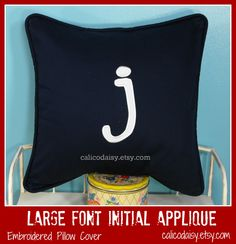 Large Font Applique Pillow Cover at http://www.etsy.com/shop/calicodaisy  -- #monogram #kids #boys bedroom