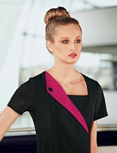 Simon Jersey stylish black beauty tunic with hot pink contrast lapel. Salon Uniform, Spa Uniform, Hotel Uniform, Scrubs Uniform, Medical Uniforms, Work Uniforms, Beauty Therapist Uniform, Beauty Tunics, Salon Wear