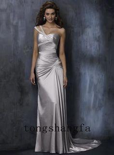 Trendy Sheath Column One Shoulder Court Train Elastic Woven Satin Wedding Dresses