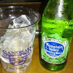 Mountain Valley Sparkling Water @ Mar Vista Dockside Restaurant and Pub Old Logo, Fine Dining, Free Food, Water Bottle, Mountain, Sparkle, Water Bottles, Glow