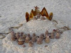 Seashell nativity scene with pen shells and sea urchins. So cute!
