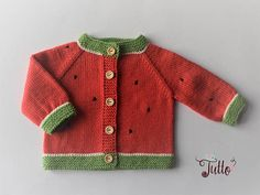 READY TO SHIP size months baby watermelon sweater baby girl cardigan baby shower wool knitted ja Baby Girl Cardigans, Baby Girl Sweaters, Boys Sweaters, Cardigan Bebe, Summer Cardigan, Baby Cardigan, Hand Knitted Sweaters, Cotton Sweater, Baby Month By Month