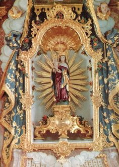 allaboutmary:Gnadenbild FrauenbergThe rococo altar in the pilgrimage chapel of Frauenbergkapelle in Weltenburg, Germany. The miraculous statue of Mary is late Gothic. Religious Icons, Religious Art, Folk Religion, Catholic Religion, Book Of Saints, Color Symbolism, Christian Artwork, Home Altar, Bride Of Christ