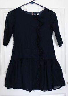 EUC Crewcuts J Crew Girl's 10 Navy Blue Dress Drop Waist Ruffled Tunic Pockets #Crewcuts #DressyEveryday