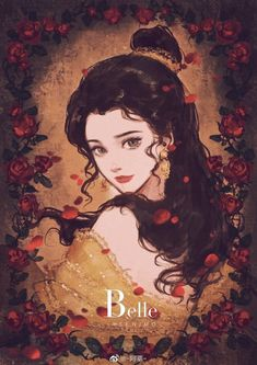 Belle the Beauty of Red Roses from Disney's Beauty and the Beast Disney Princess Drawings, Disney Princess Art, Disney Drawings, Disney Princesses, Disney Characters, Fantasy Princess, Disney Kunst, Disney Fan Art, Disney Love