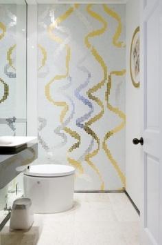 Gold Bathrooms Powder Room Wall Decor Bathroom Wall Ideas Gold from gold bathroom wall decor , image source: nengen. Cool Toilets, Mosaic Tile Designs, Bathroom Wall Decor, Powder Room Design, Fancy Bathroom, Small Bathroom Decor, Room Tiles, Minimalist Toilets, Mosaic