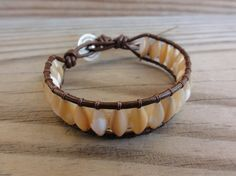 Mother of Pearl Shell Beaded Single Leather Wrap by GSJewelry, $22.00