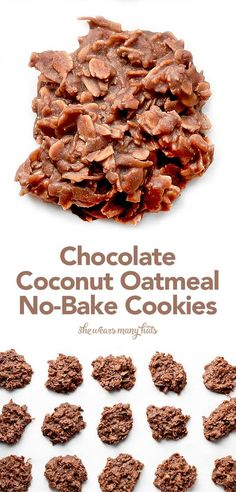 These easy Chocolate Coconut Oatmeal No Bake Cookies remind me of a Mounds bar in cookies form with some healthy oatmeal added in for good measure and a bit more texture too!(Oil No Baking Cookies) Oatmeal No Bake Cookie Recipe, No Bake Coconut Cookies, Oatmeal Cake, Shortbread Cookies, Gluten Free No Bake Cookies, Drop Cookies No Bake, Healthy No Bake Cookies, No Bake Oatmeal Bars, Delicious Desserts