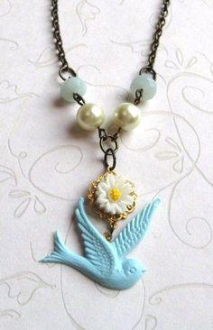 Blue Bird Necklace white daisy amazonite