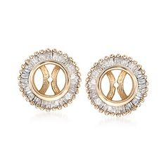 .68 ct. t.w. Baguette Diamond Earring Jackets in 14kt Yellow Gold wear it with my pearls.