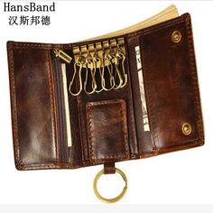 2017 Men's wallets Genuine Leather Car Wallet Multi Function Key Case Fashion Housekeeper Holders 6 Key Bag Rings Car Key purse