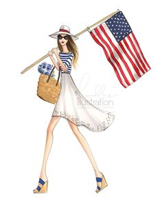 Items similar to Abigail, Patriotic Girl (Fashion Illustration Print) on Etsy Fashion Art, Girl Fashion, All American Girl, American Spirit, Illustration Sketches, Sketchbook Drawings, Sketch Art, Fashion Sketches, Fashion Illustrations