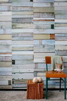 White wallpaper Scrapwood by Studio Ditte This faux wood wallpaper panel, with its patched and botched wooden floorboards, is a unique attribute to any wall. Wood Effect Wallpaper, Wallpaper Panels, White Wallpaper, Beautiful Wallpaper, Into The Woods, Wood Panel Walls, Wood Paneling, Paneled Walls, Metal Walls