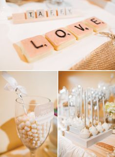 Shabby Chic Scrabble Inspired Wedding Dessert Table...would be a cool party theme