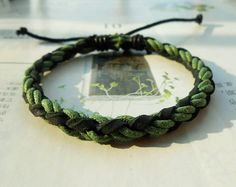 Christmas Gift Winter Popular trend Tiny Style Green Cotton Cord Nature Leather Braid Woven Together Stylish Adjustable Wrap Bracelet  S-27