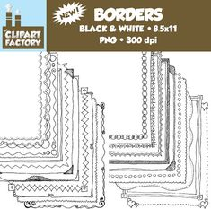 Clip Art NEW  Assorted Hand Drawn Borders  20 by TheClipartFactory, $2.25
