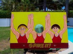 Carnival Game - Volleyball Player Knockout, bean bag toss game