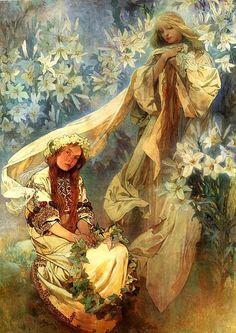 Mucha, Alphonse (1860-1939) - 1905 Madonna of the Lilies (Mucha Museum, Prague, Czech Republic)