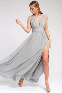 You'll be goddess-like for the entire evening in the Heavenly Hues Light Grey Maxi Dress! Georgette fabric drapes into a V-neck maxi dress with side slit. Light Grey Bridesmaid Dresses, Grey Bridesmaids, Affordable Bridesmaid Dresses, Grey Gown, Gray Dress, Blue Gown, White Dress, Maxi Gowns, Prom Dresses