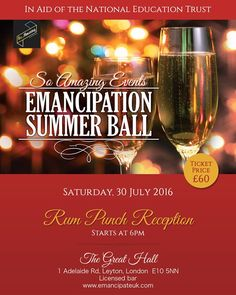 New Client: Emancipation Summer Ball  @emancipate_2016 Sat 30th July celebrating the achievements of our Caribbean ancestors whilst acknowledging the history of slavery and abolition. Suzette McLean Director of So Amazing Events stated The Emancipation Story is a fundamental part of our UK history and we see the Summer Ball as the first step in an education programme not just for those of Caribbean descent but for everyone living here in the UK. Tickets are priced at 60.00 per person and the…
