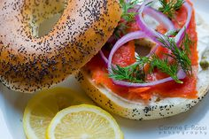 Poppyseed Bagel with Lox, Red Onion, Capers, Lemon, Fresh Dill, and Cream Cheese