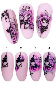 Purple Nail Art, Rose Nail Art, Rose Nails, Flower Nail Art, 3d Nail Art, Animal Nail Designs, Nail Art Designs Videos, Simple Nail Art Designs, Nail Art Blog