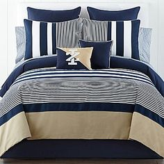 Nice combination of navy and tan stripes. I could reuse my sheets!