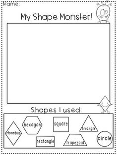 Creating with Shapes Freebie Enjoy this forever freebie from my TPT Store! My Shape Monster! Get your little ones learning their shapes by allowing them to draw and label shapes while turning it into their very own monster! 2d Shapes Kindergarten, Teaching Shapes, Kindergarten Lesson Plans, Preschool Math, Teaching Kindergarten, Student Teaching, Math Classroom, Fun Math, Math Activities