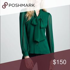 Tory Burch Malachite Bryce silk blouse No trade. Gently Owen with normal sign of wear. Professionally dry cleaned. Malachite Bryce bow blouse from Tory Burch features a draping bow tie neck line and gold front buttons. (#41) 100% silk, Lining: 100% polyester Tory Burch Tops Blouses