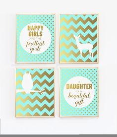 Aqua and Gold Nursery Decor wall art, Happy girls are the prettiest, Daughter is a beautiful gift, prints deer owl chevron polka dots