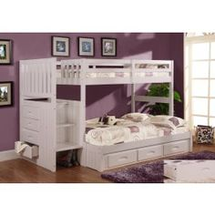 Discovery World Furniture Twin over Full Staircase Bunk bed