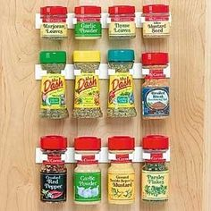 Great spice holder for the inside of your spice cabinet.  Can also be used to hold mops and brooms.
