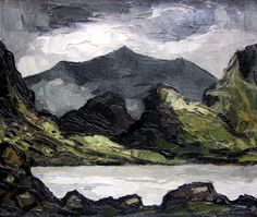 Sir Kyffin Williams - Llyn-y-Cau, Cader Idris Beautiful Landscape Paintings, Landscape Drawings, Abstract Landscape, Abstract Art, Kyffin Williams, Watercolor Video, Watercolor Art, Virtual Art, European Paintings