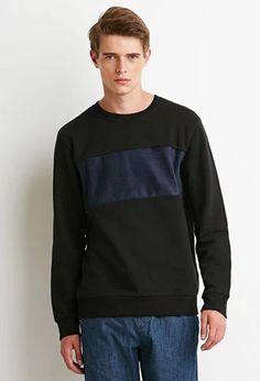 Faux Suede Panel Sweatshirt | 21 MEN | #forever21men