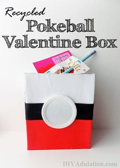 Make your own Recycled Pokeball Valentine Box that does double-duty as a bank! Homemade Valentine Boxes, Valentine Day Boxes, Valentines Day Party, Valentine Day Crafts, Valentine Ideas, Printable Valentine, Valentine Wreath, Valentine Nails, Pokemon Valentines Box